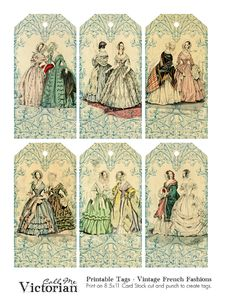 Victorian Christmas Tags | Printable Tags - Vintage French Fashions | Call Me Victorian