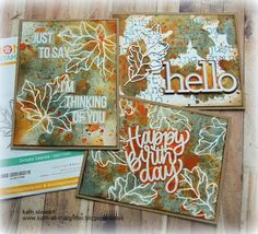 Kath's Blog......diary of the everyday life of a crafter: Simon Says - STAMPtember Blog Party Thanksgiving Place Cards, Simon Says Stamp Blog, Birthday Sentiments, Artist Trading Cards, Fall Cards, Watercolor Cards, Autumn Theme, Distress Ink, Altered Art
