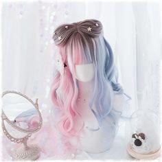 Kawaii Hairstyles, Wig Hairstyles, Straight Hairstyles, Curly Wigs, Long Curly Hair, Curly Hair Styles, Style Pastel, Kawaii Wigs, Face Shape Hairstyles