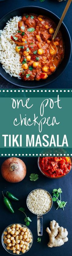 One Pot Chickpea Tiki Masala- an easy and nutritious meal made with warming spices, fire roastedtomatoes, fresh ginger and coconut milk. Just 30 minutes to make! (vegan + gluten-free)