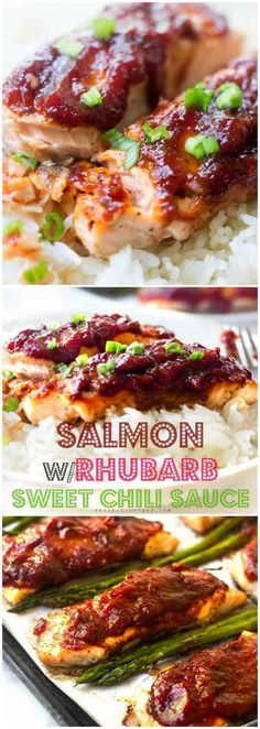 Easy Salmon Recipe With Rhubarb Sauce Salmon with Rhubarb Sweet Chili Sauce. Sweet and savory with a touch of heat. This saucy rhubarb salmon is a perfect quick and easy meal! Great for those busy weekdays! Easy Salmon Recipes, Fish Recipes, Seafood Recipes, Cooking Recipes, Healthy Recipes, Dutch Recipes, Fish Dishes, Seafood Dishes, Sauces