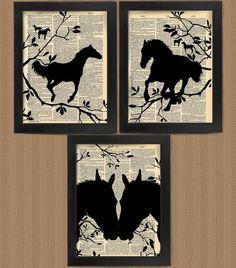 Set of 3 Love Horses Horse art print set dictionary Art Book Art wall Decor Wall Art Mixed Media Collage Framed Wall Art, Wall Art Decor, Book Art, Horse Cards, Newspaper Art, Creation Art, Dictionary Art, Medium Art, Mixed Media Art