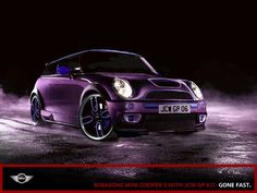God, I love to look at this car so much. I want a purple Mini Cooper just like this one, but my red one (Stewie) was always in the shop. fun to drive when you get to drive 'em My Dream Car, Dream Cars, Mini Copper, John Cooper Works, Mini Things, Love Car, All Things Purple, Purple Rain, Mini Me