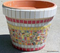 Lantana Mosaic Flower Pot Planter  MOO7016 by whiteisalwaysright