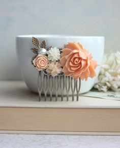 Peach Rose Flower Comb. Ivory Brass Leaf Pearl Flower by Marolsha, $25.00 This etsy shop has lots of great jewelry