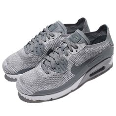 Nike Air Max 90 Ultra 2.0 Flyknit Grey White Men Running Shoe Sneaker  875943-003