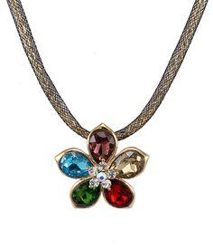 Women's Multi-Color Flower Curb Chain Wrapped Enhancer - Followbest.com  #necklaces #fashion #jewelry