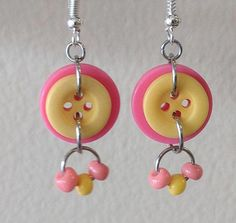 Pink and Yellow Dangle Earrings Made from Buttons and Beads by OhButtonItNow on Etsy Diy Earrings Dangle, Button Earrings, Diy Chandelier Earrings, Gold Chandelier, Bridal Earrings, Jewelry Tools, Jewelry Crafts, Jewelry Making, Crystal Jewelry