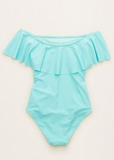 Start Shopping: Your Swimsuit Horoscope Is Here, BEACH OUTFİTS, aerie blue off the shoulder ruffle one piece bathing suit. Swimsuits For Tweens, Bathing Suits For Teens, Summer Bathing Suits, Bathing Suits One Piece, Cute Bathing Suits, Blue One Piece Swimsuit, Bathing Suit Covers, Cute One Piece Swimsuits, Best Swimsuits