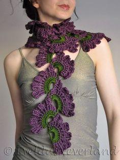 Items similar to Crochet openwork lace boho bohemian scarf wrap neckwear neckpiece fall shawl in dark green purple plum shades - Wild Orchids - gift for her on Etsy - Crochet openwork lace boho bohemian scarf wrap by EveldasNeverland - Freeform Crochet, Crochet Shawl, Crochet Lace, Lace Scarf, Scarf Wrap, Scarf Display, Crochet Collar, Crochet Accessories, Crochet Scarves