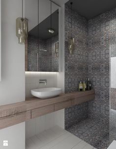 Modern bathroom decor with pattern tiles & wood Half Bathroom Decor, Guest Bathrooms, Bathroom Design Small, Laundry In Bathroom, Bathroom Interior Design, Modern Bathroom, Bathroom Ideas, Small Bathrooms, Washroom Tiles
