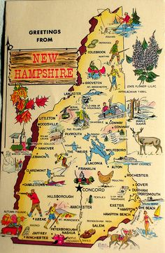 Toutes les tailles | Greetings from New Hampshire map postcard | Flickr : partage de photos !