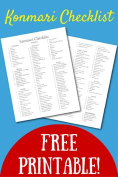 FREE Konmari Checklist, black & white version. Categorized by main Konmari categories and broken down into smaller categories to make sure you don't forget anything!