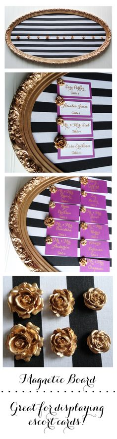 Magnetic escort card display board.  Frame with gold rose magnets and black and white striped background.  Escort cards and board are available for order in my store.   https://www.etsy.com/listing/192422808/large-gold-framed-magnetic-board-for?ref=listing-shop-header-3