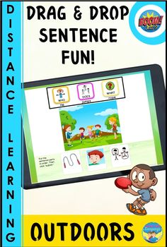 Your students will have fun learning with this interactive picture sentence building digital 30 BOOM card set for outdoors! Build noun-verb-object sentences using pictures and symbols to tell about the 30 colorful picture scenes of common outdoor activities. Great for early elementary, speech therapy, ESL, special education, and resources for autism. Autism Resources, Classroom Resources, Sentence Building, Autism Classroom, Play To Learn, Communication Skills, Speech And Language, Critical Thinking, Speech Therapy