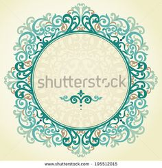 Vector ornate frame in Victorian style. Baroque element for design in modern colors. Colorful ornamental pattern for wedding invitations and greeting cards. Traditional floral decor.