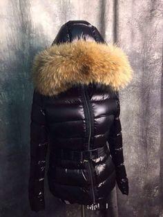 womens fox fur hood black down jacket bomber size