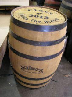 Jack Daniels Whiskey Barrel Branded on Side With Custom Engraved Head