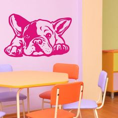 A design protected by copyright. All rights reserved. COPYING PROHIBITED WITHOUT OUR CONSENT. Dog Decal French Bulldog Siesta- Good for Cars, Walls, Ipads, Etc. COLOR:select a color of foil in the table above MATERIAL:adhesive foil You can add the text on request ABOUT OUR WALL DECALS Our wall decals are made from a high quality matte vinyl made especially for home decor. Our decals are completely die cut, there is no clear background. Vinyl decals can stick to almost any smooth surfaces…