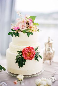 Three-Tiered White Cake with Fresh Flowers - Wedding Cake