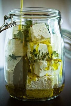 Marinated feta with fresh herbs.