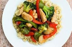Chicken Stir-Fry over Quinoa recipe – @Crissy Page Page Page (Replace sesame dressing with healthier option e.g Tahini Miso Dressing?)