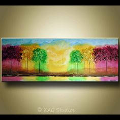 Large Original abstract Tree painting by KAG 22x60 by kagstudios, $379.00