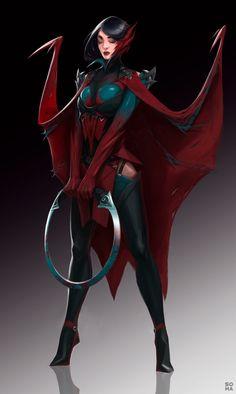 Scarlet queen, Maxim Solomakhin on ArtStation at https://www.artstation.com/artwork/mxrg9 Fantasy Warrior, Fantasy Rpg, Fantasy Artwork, Dark Fantasy Art, Fantasy Girl, Female Character Design, Character Concept, Character Art, Concept Art