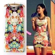 Women Floral Printed Sleeveless Clubwear Party Cocktail Vintage Sexy Mini Dress