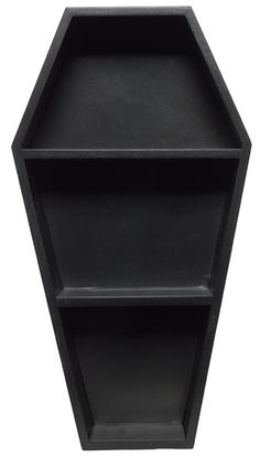 SOURPUSS COFFIN SHELF BLACK - This isn't your ordinary tchotchke shelf! Our new, black Coffin Shelf is perfect for showcasing your most prized possessions! We happen to think it would look great filled with small oddities and taxidermied items, but really, the possibilites are endless! Shelf is ready to hang thanks to the sawtooth hanger attached to the back!
