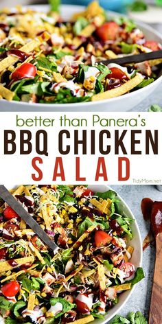 This BBQ Chicken Salad is a flavorful dinner salad recipe that's off the hook delicious! It's easy to make but tastes like it's straight from a restaurant. It's sure to become a favorite salad recipe at your house. If you were a fan of Panera's BBQ Chicken Salad, you're in luck! You can make a copycat salad in 15 mins or less. Print full recipe at TidyMom.net