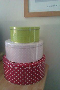 Add a touch of colour with some stacked cake tins (all the better if they are filled with treats)