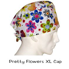 Surgical Scrub XL Caps Pretty Flowers 100% cotton made in the USA