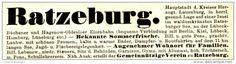 Original-Werbung/ Anzeige 1897 : SOMMERFRISCHE RATZEBURG - ca. 100 x 25 mm