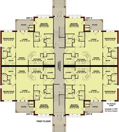 4 plex 3 with good floor plan apartment house plan for Multi family condo plans