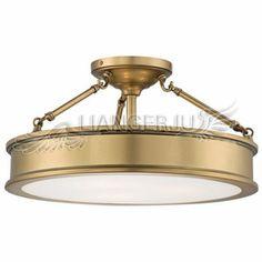 $179.99 Simple Brass Acrylic Shade Semi Flush Ceiling Light For Bedroom