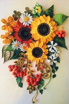 Autumn paper bouquet Paper quilling Paper flowers #papercraft
