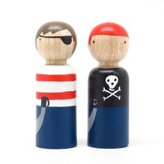arrr! a pair of pirate wooden dolls by Goose Grease