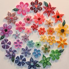 Rainbow colored paper quilled flowers