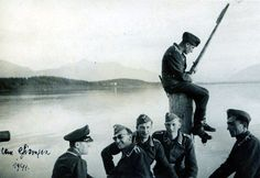Luftwaffe soldiers relaxing lakeside, 1941