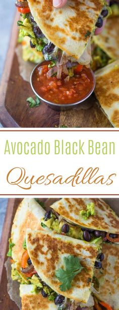 Crispy quesadillas filled with beans, sautéed onions, bell pepper, avocado and lots of cheese. These avocado black bean quesadillas are filling and make a great vegetarian meal too! Quesadillas, Veggie Quesadilla, Sweet Potato Quesadilla, Vegetarian Quesadilla, Black Bean Quesadilla, Healthy Quesadilla Recipes, Zucchini Enchiladas, Great Vegetarian Meals, Healthy Recipes