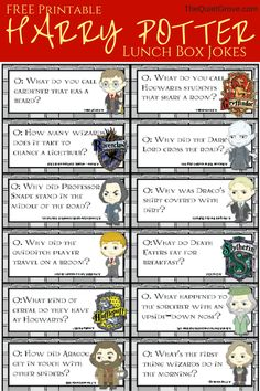 HARRY POTTER Printable Lunch Box Jokes!