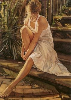 Realistic paintings of women by Steve Hanks