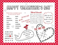 Valentine's Day Activity Sheet for Kids - Free Printable - Laminate and use as place mats for years to come! This makes a great classroom party game too! My Sweet Valentine, Valentines For Kids, Happy Valentines Day, Valentine Party, Valentine Ideas, Activity Sheets For Kids, Activity Days, Activity Books, Valentine Coloring Pages