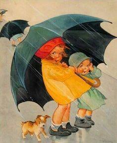 Vintage Illustration Vintage Postcard of Spring Rainl Deco Era - Vintage Cards, Vintage Postcards, Printable Postcards, Rain Art, Umbrella Art, Walking In The Rain, Children's Book Illustration, Illustration Children, Vintage Pictures