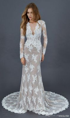 Vintage Long Sleeve Wedding Dresses 2016 Sheath Sexy V Neck Covered Button Pleats Chapel Train Formal Lace Bridal Gowns