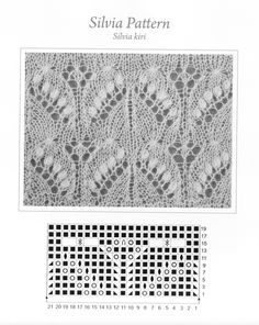 For a PDF version of this pattern and key, click here. Silvia Haapsula Shawl Pattern, photo and chart.  In row 15, the stitch is the 5 gathered stitch. See the key below for an explanation.