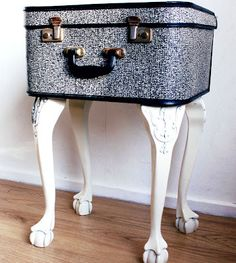 suitcase side table-the legs are pretty don't really like the box