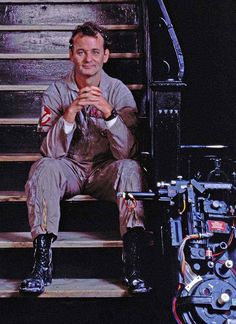 Bill Murray on the set of Ghostbusters