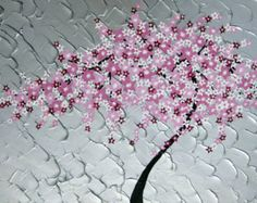 Black and White Cherry Blossom Moon Painting: by SurrealSentiments